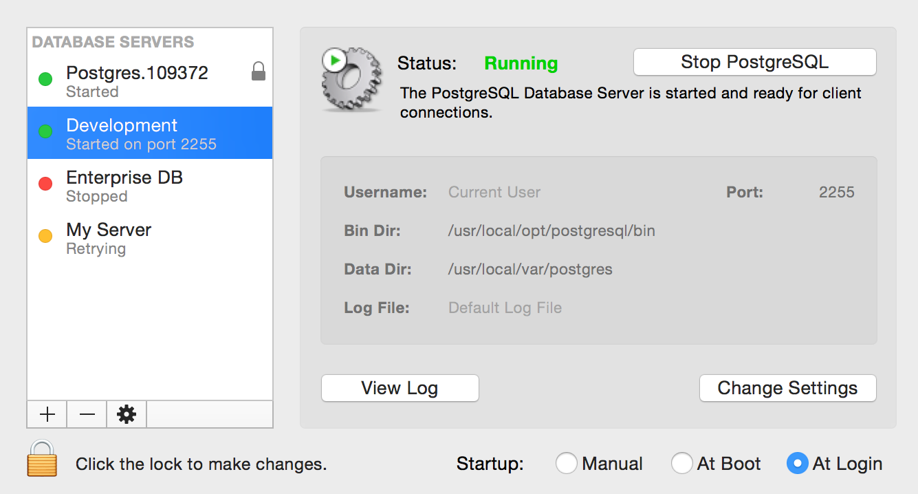 PostgreSQL Preferences for Mac OS X